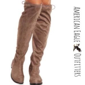 8a78b1a9a87 American Eagle Outfitters Shoes - Taupe Suede Tie Over Knee Boots